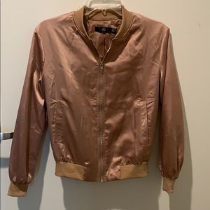 Missguided golden bronze jacket with silver zipper